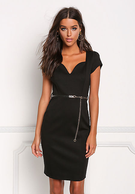 Black Plunge Cut Cinched Bodycon Dress