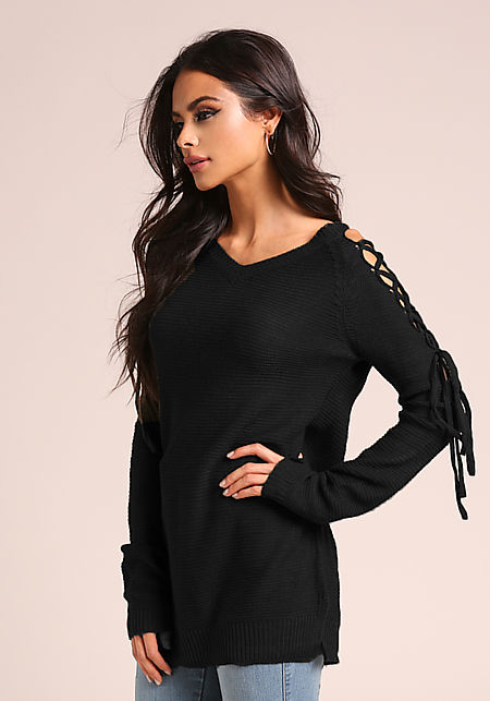 Black Sleeve Lace Up Knit Sweater Top