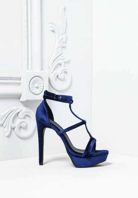 Navy Velvet Double Ankle Strap Heels