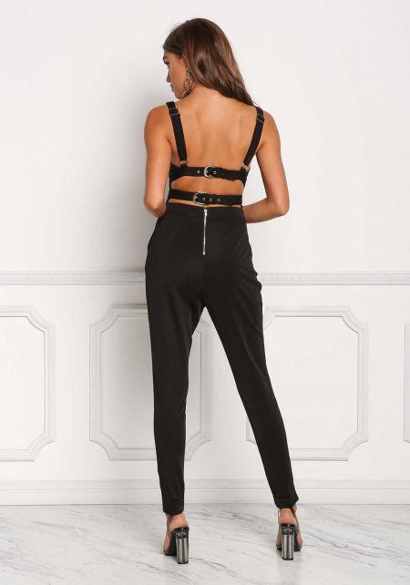 Black Double Buckle Strap Cut Out Plunge Jumpsuit