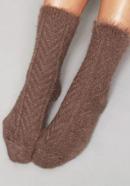 Brown Fuzzy Knit Socks