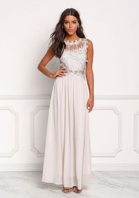 Grey Floral Applique Tulle Maxi Gown