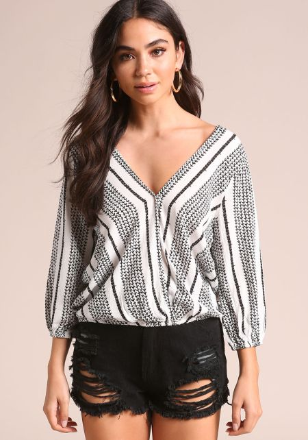 Off White Crepe Printed Surplice Blouse
