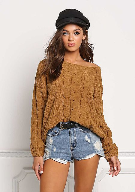 Dark Mustard Soft Cable Knit Sweater Top