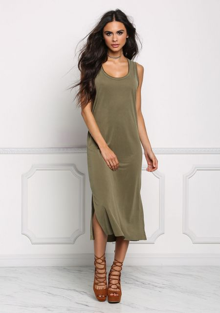 Olive Jersey Knit Slit Midi Dress