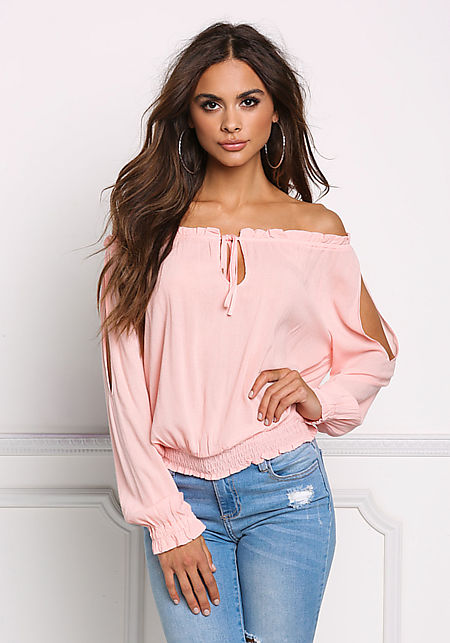 Coral Off Shoulder Sleeve Slit Blouse