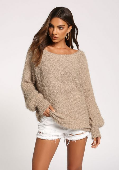 Mocha Puff Sleeve Fuzzy Knit Sweater Top