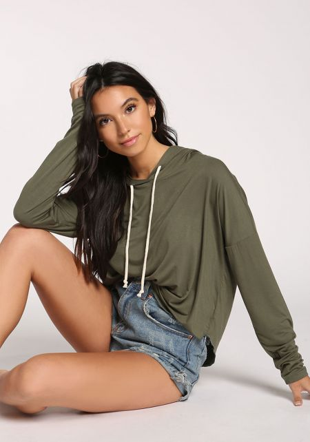 Olive Hooded Sweater Top