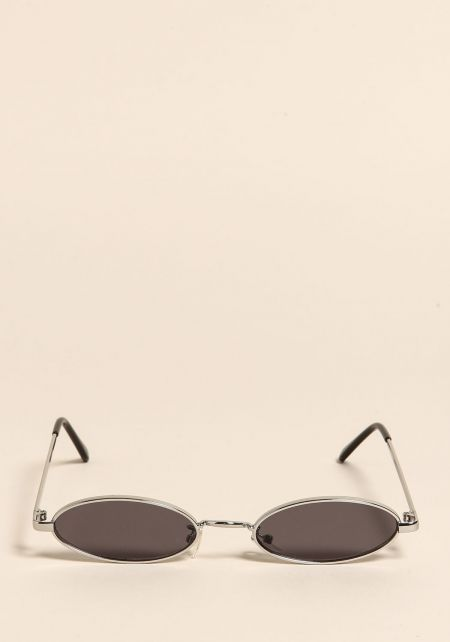 Silver and Black Skinny Oval Sunglasses