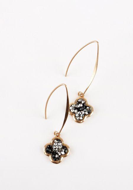 Black Rhinestone Hook Earrings