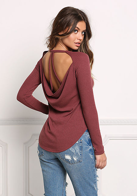 Brick Ribbed Knit Low Back Strappy Top