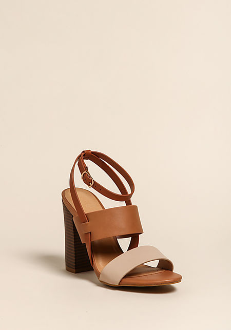 Tan Leatherette Thick Strap Heels