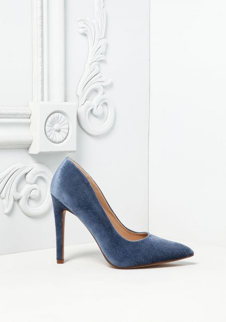 Blue Velvet Pointed Toe Heels