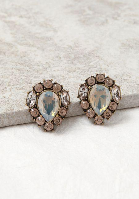 Grey Rhinestone Statement Earrings