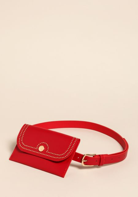 Red Faux Leather Studded Fanny Belt