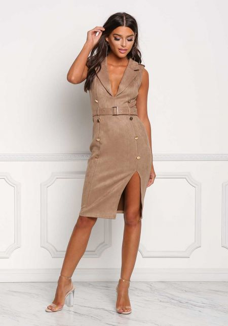 Mocha Cinched Double Breasted Suedette Dress