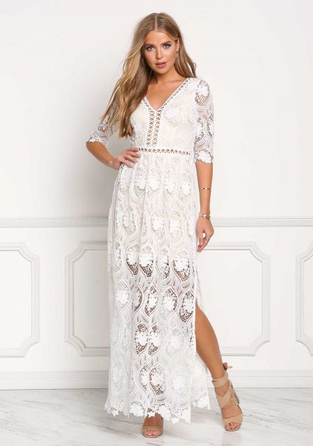 Ivory Embroidered Slit Maxi Gown