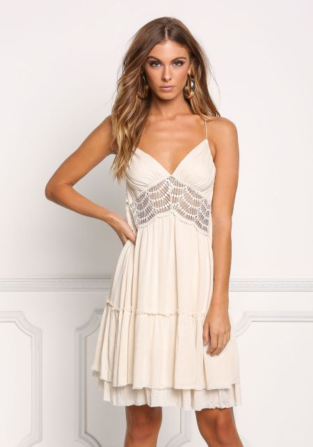 Beige Crepe Tiered Crochet Trim Shift Dress