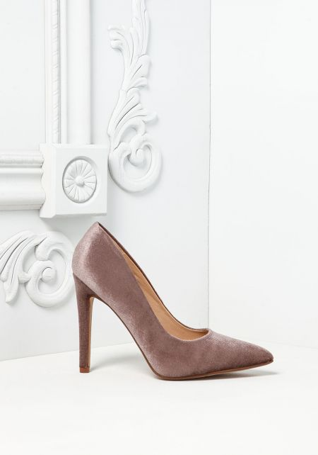 Taupe Velvet Pointed Toe Heels