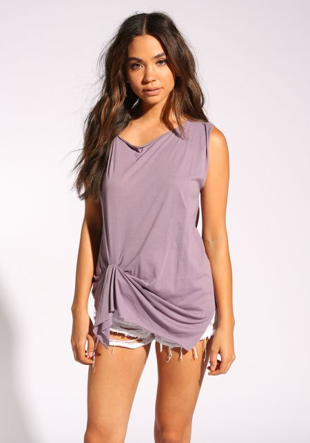 Lavender Twisted Tank Top