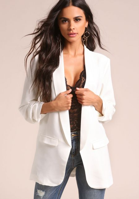 White Ruched Sleeve Open Front Blazer