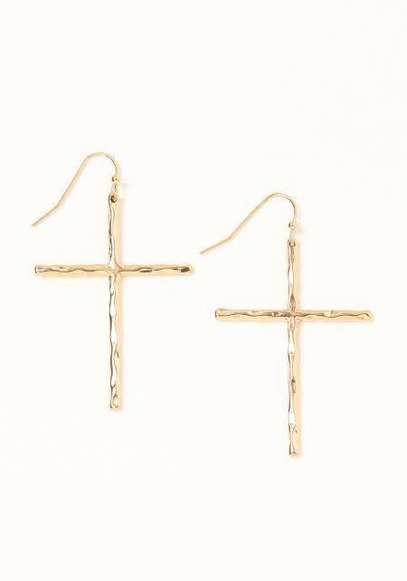 Gold Textured Cross Earrings