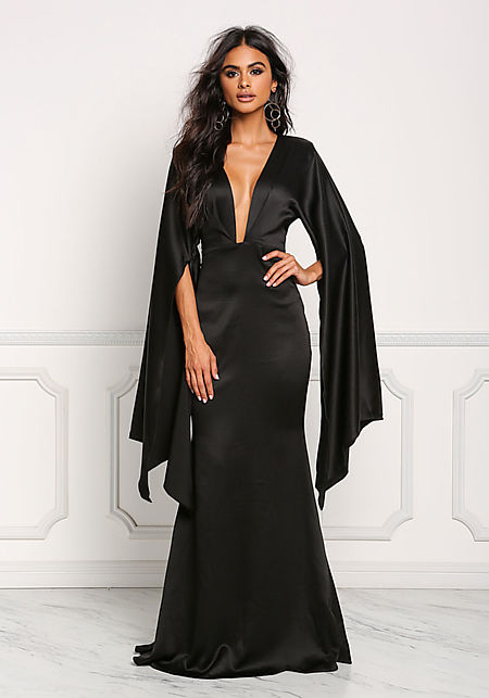 Black Plunge Cut Slit Bell Sleeve Maxi Gown