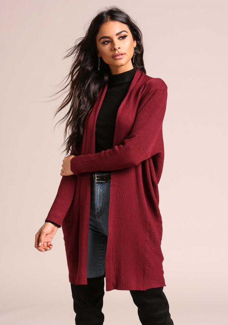 Burgundy Light Ribbed Knit Cardigan