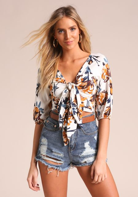 White Floral Double Tie Front Crop Top