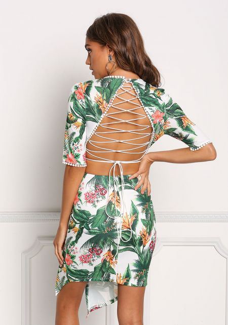 White Tropical Floral Back Cross Strap Slit Dress