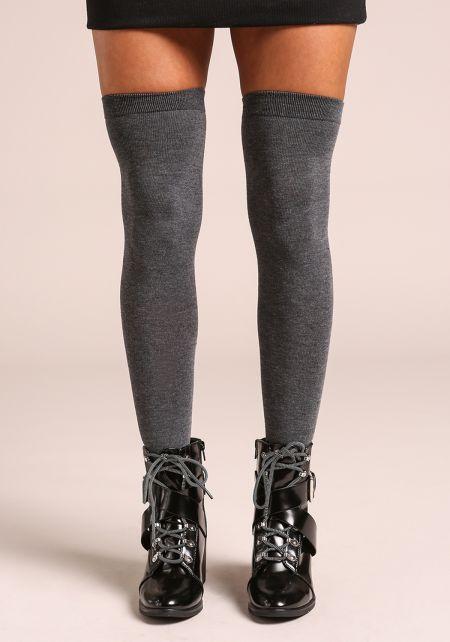 Grey Thigh High Knit Socks
