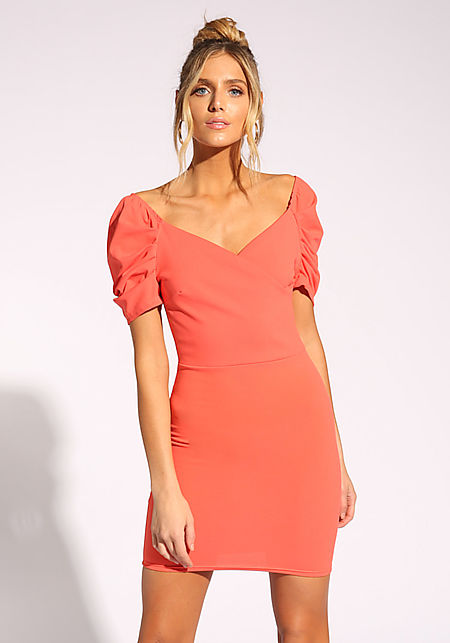 Coral Puff Sleeve Bodycon Dress