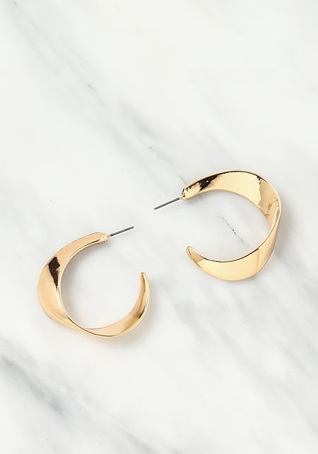Gold Thick C Hoop Earrings