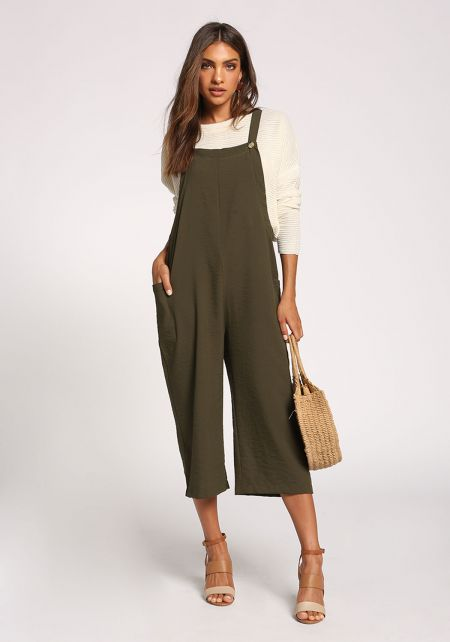 Olive Cropped Overalls Jumpsuit