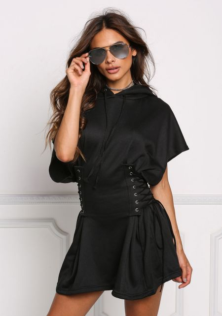 Black Side Lace Up Corset Hoodie Dress