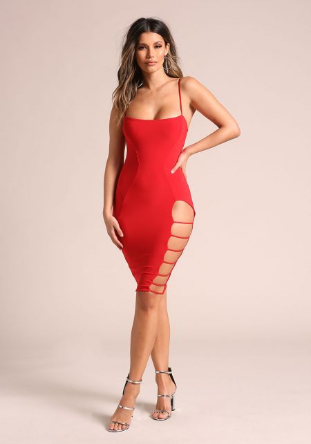 Red Side Caged Cut Out Bodycon Dress