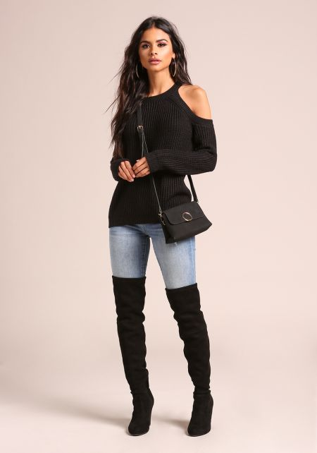 Black Cold Shoulder Thick Knit Sweater Top