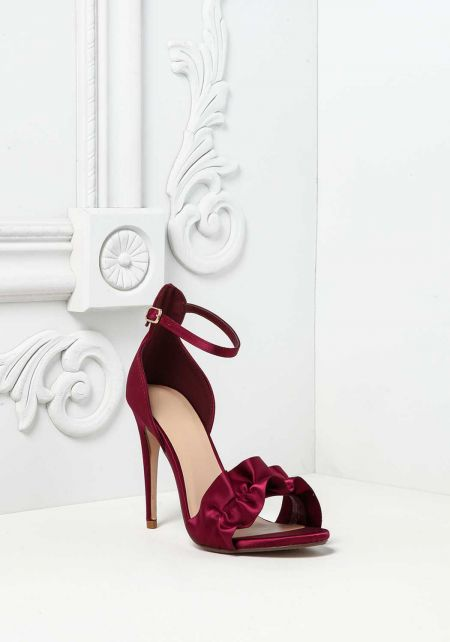 Wine Ruched Satin Ankle Strap Heels