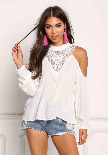 White Cold Shoulder Embroidered Crepe Blouse