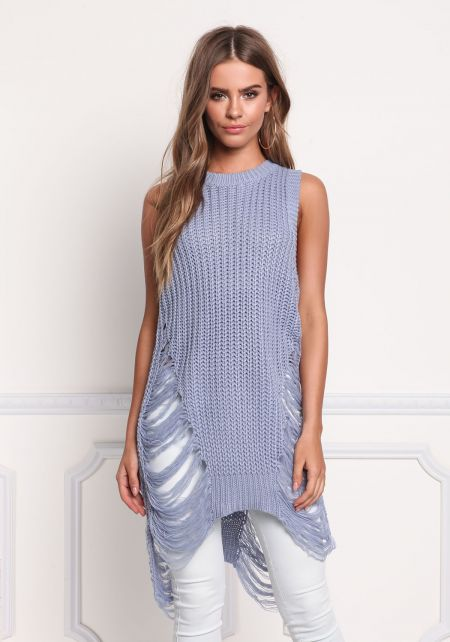 Dusty Blue Thick Knit Frayed Tunic Tank Top