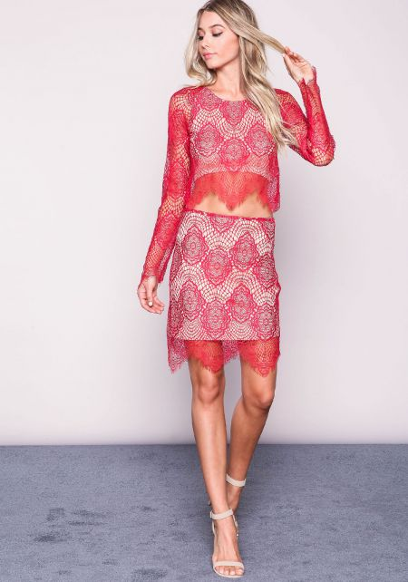 Red Lace Scallop Skirt