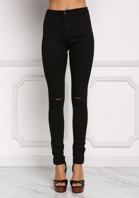 Black High Rise Knee Slit Jeans