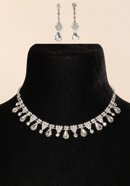 Silver Teardrop Rhinestone Necklace & Earrings Set