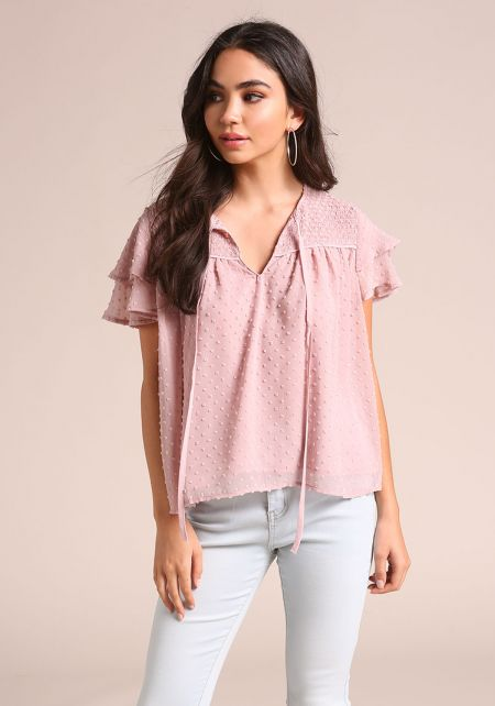 Mauve Smocked Tiered Sleeve Blouse
