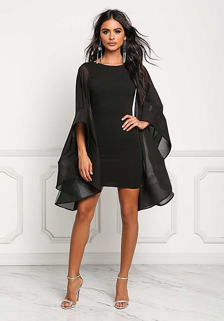 Black Voluminous Bell Sleeve Low Back Bodycon Dres