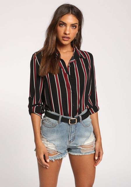 Black Stripe Hi-Lo Collared Blouse
