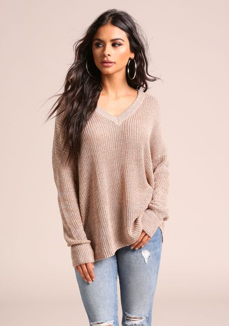 Mocha Marled V Neck Sweater Top