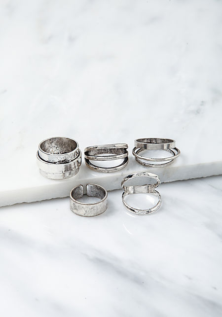 Silver Stacked Assorted Rings Set