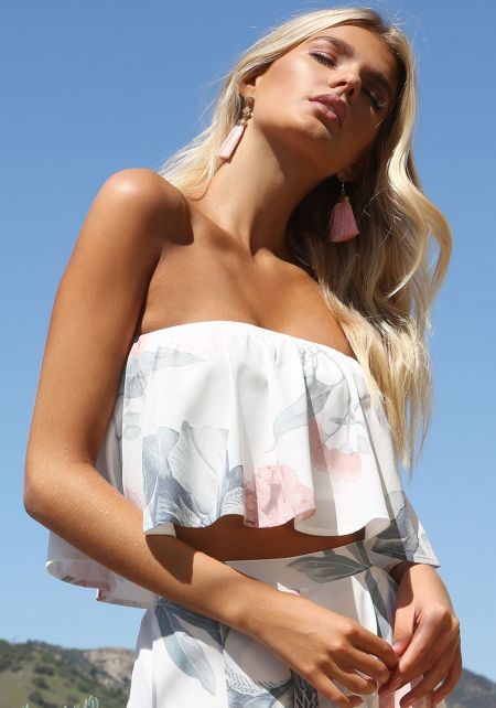 Ivory Floral Layered Strapless Crop Top