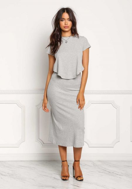 Grey Thermal Knit Layered Midi Dress